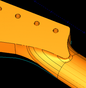 smooth transition surface for his prototype guitar